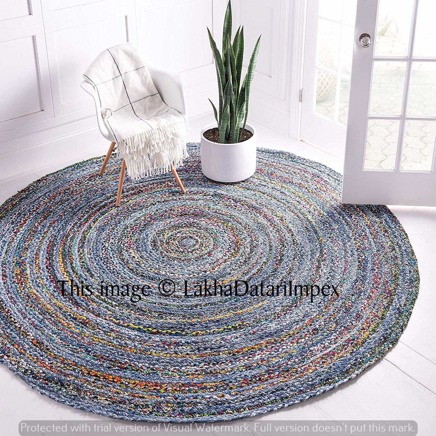 Indian Braided Round Rag Rug Jute Rug Beautiful Jute Rug Cotton Handmade Rug Home Decor Floor Area Rug Natural Rug 2x2 Feet Blue Chindi Rug Rugs On Carpet Floor Rugs Round