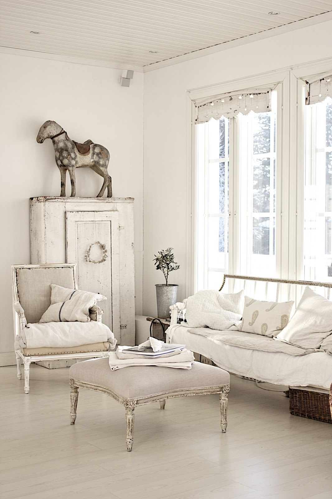 White On White Living Room Living Room Whitewashed Chippy Shabby Chic French Country