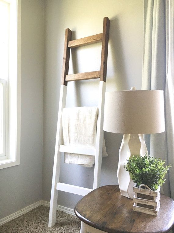 Blanket Ladder Modern Quilt Ladder White Dark Walnut 6 Home Decor Decor Living Room Decor