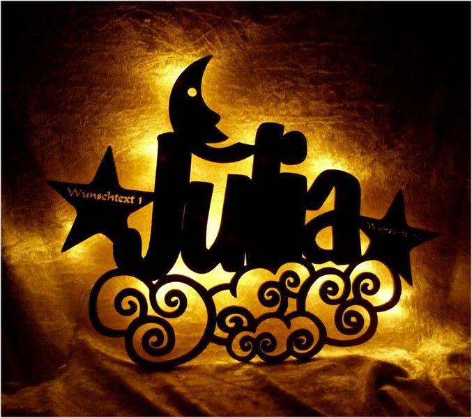 Weiteres Himmelstrau Mond Lampe Sterne Himmel Mit Name Ein Designerstuck Von Schlummerlicht24 Bei Dawanda Lampe Stern Mond Lampe
