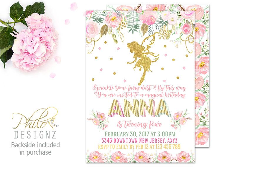 Fairy Birthday Invitation, Fairy Birthday Party, Watercolor Floral ...