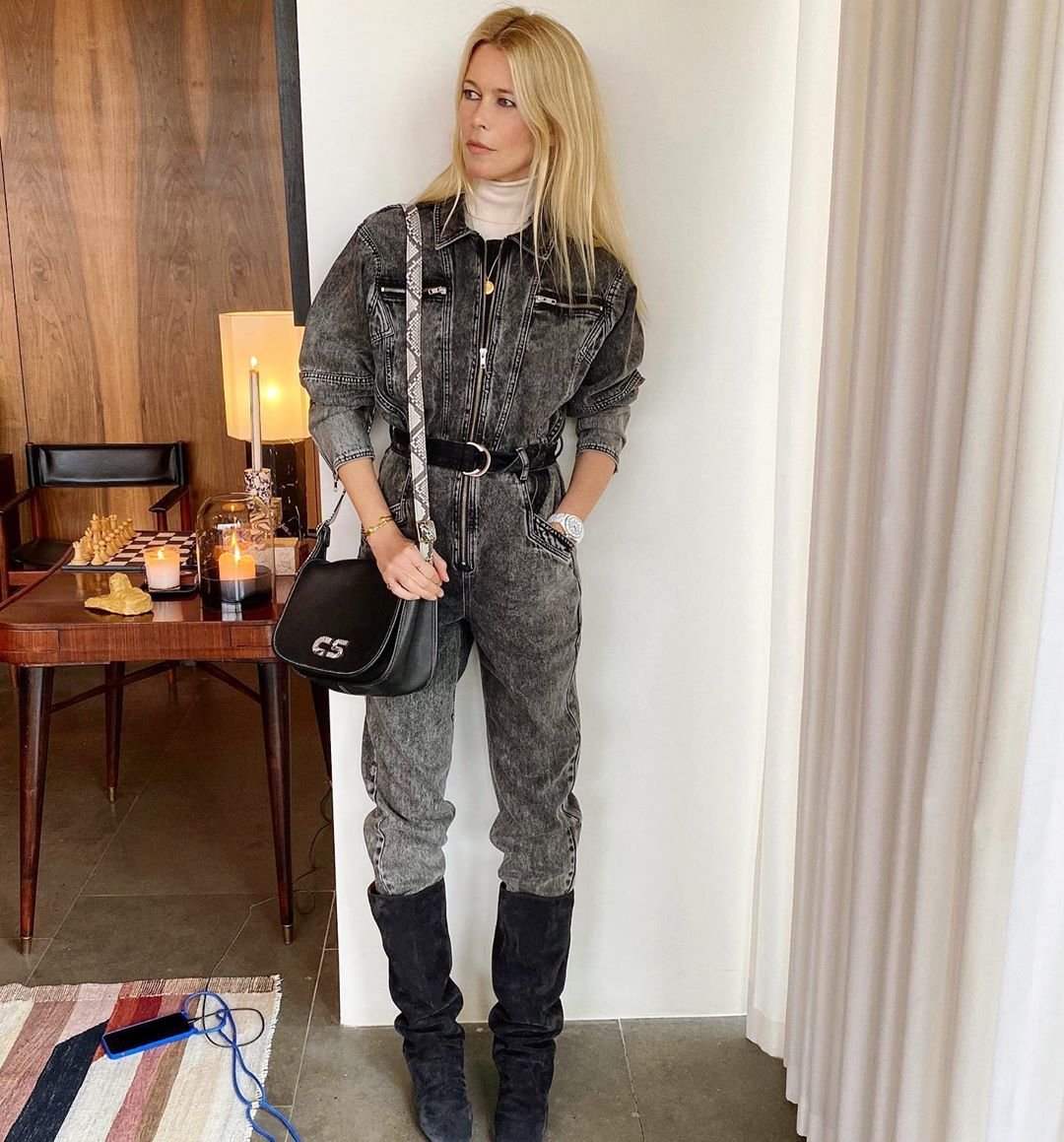 Claudia Schiffer On Instagram Monochrome Goodness Love My New Coach Bag Ootd Fashion Claudia Schiffer Outfits