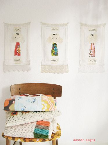Totally gorgeous wall hangings using vintage fabrics