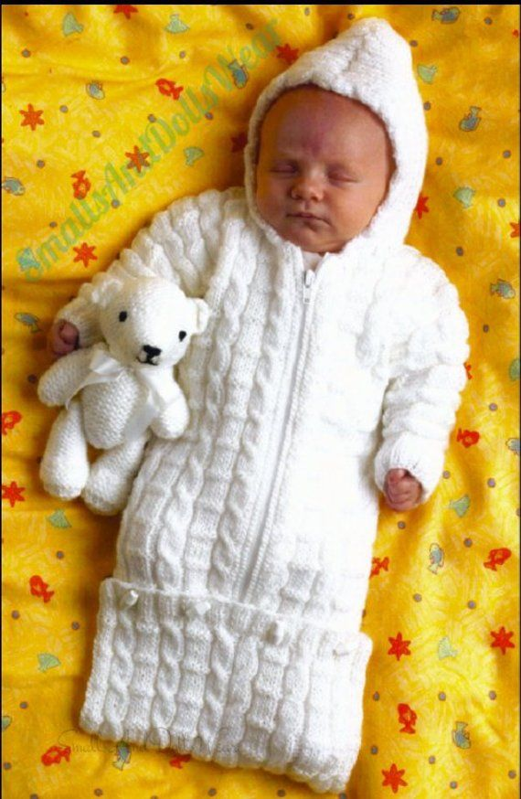 Vintage Knitting Pattern Preemie Newborn Baby Bunting Cable Knit ...