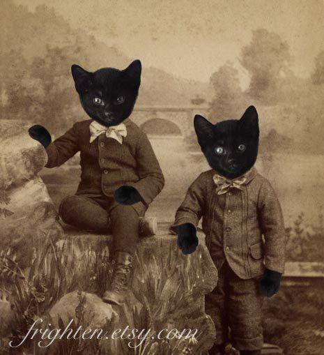 black cat art mixed media collage print kitten boys altered victorian portrait of twin brothers halloween decoration via etsy - Victorian Halloween Decorations