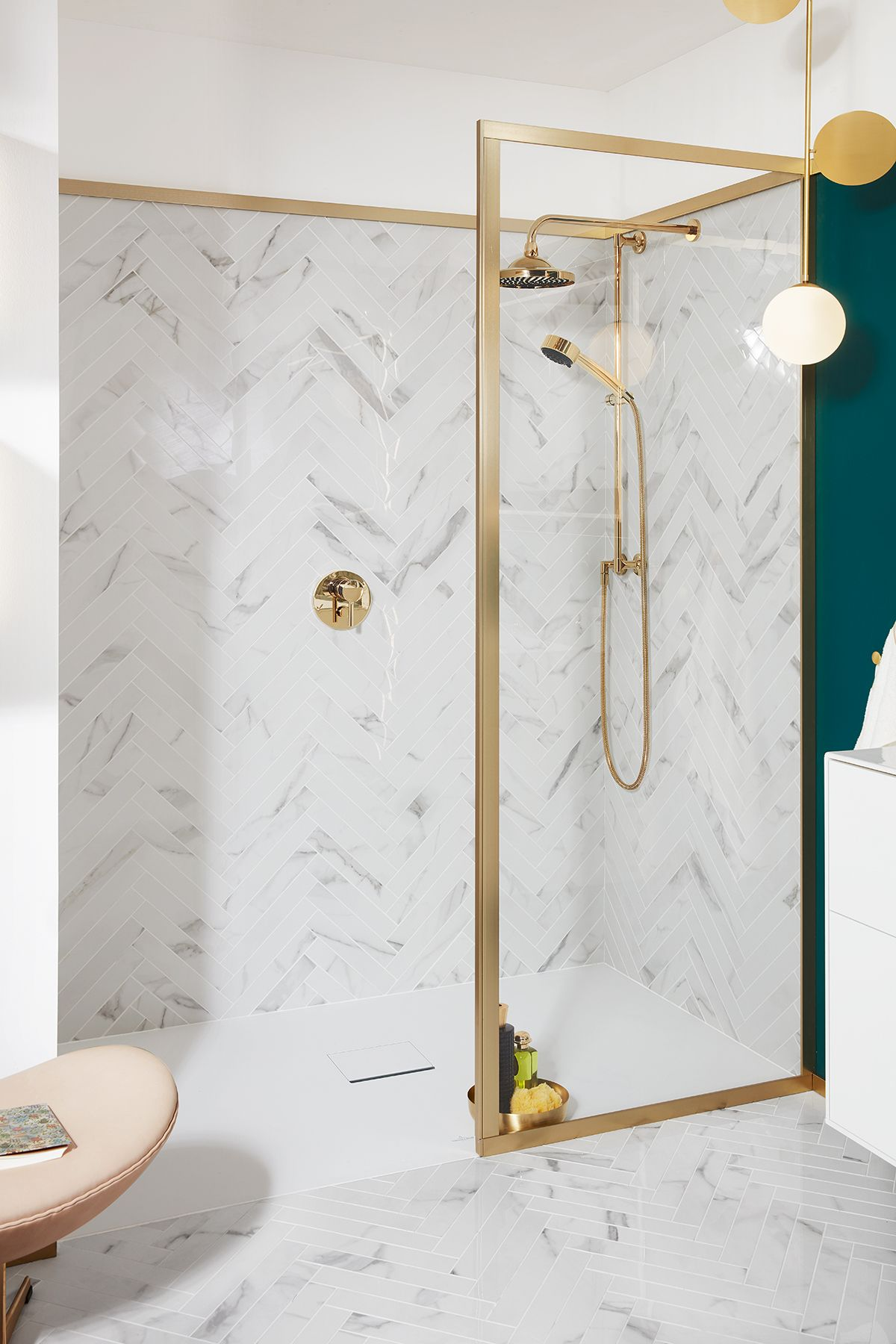 easy to clean marble look herringbone