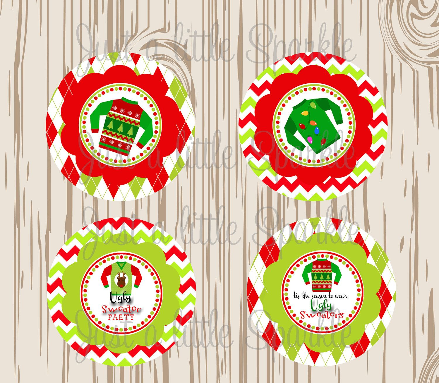 Tacky Sweater Christmas Party Ideas Part - 18: Ugly Christmas Sweater Cupcake Toppers