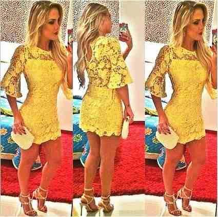 792d6b3d6 vestido mini amarelo em renda curto sexy festa balada | Vestidinhos ...