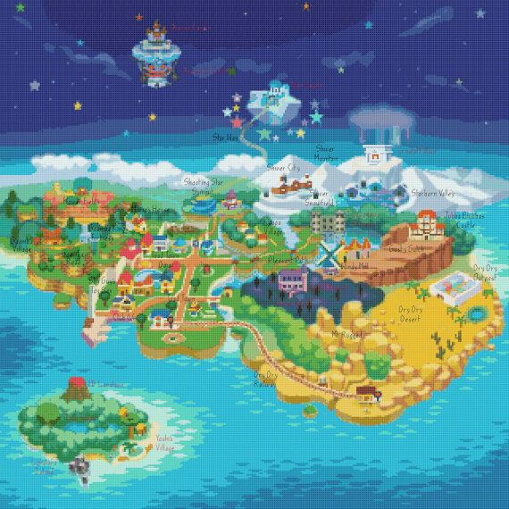 Mushroom World Map.Paper Mario Mushroom Kingdom Map Cross Stitch By Servostitches