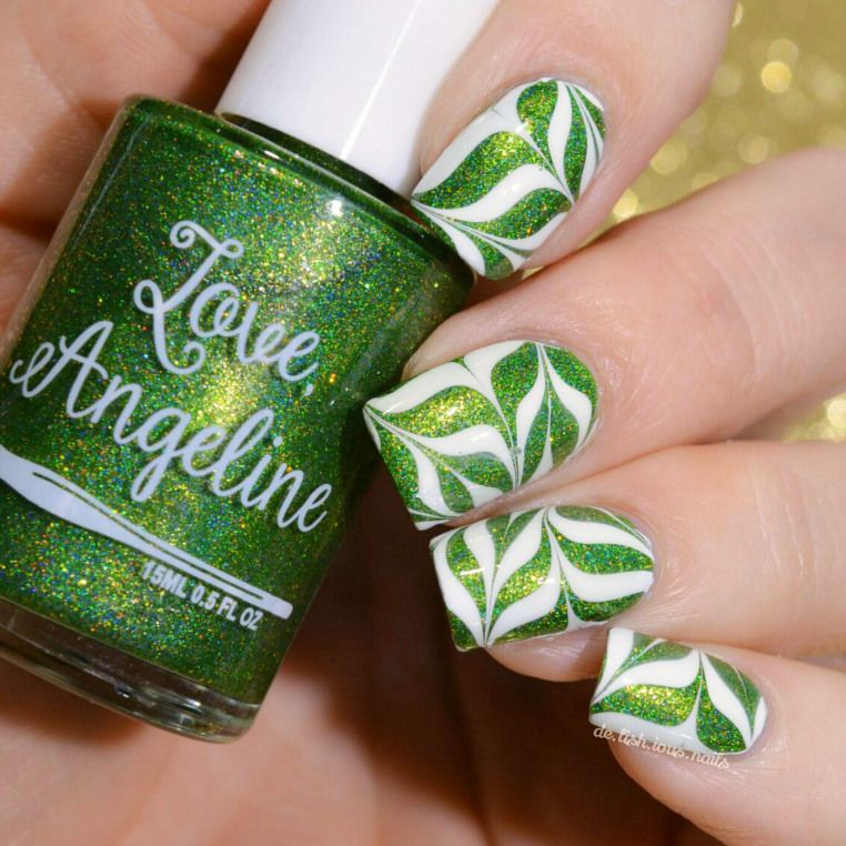 White and clear watermarble over Love, Angeline 3/16 | Nails ...