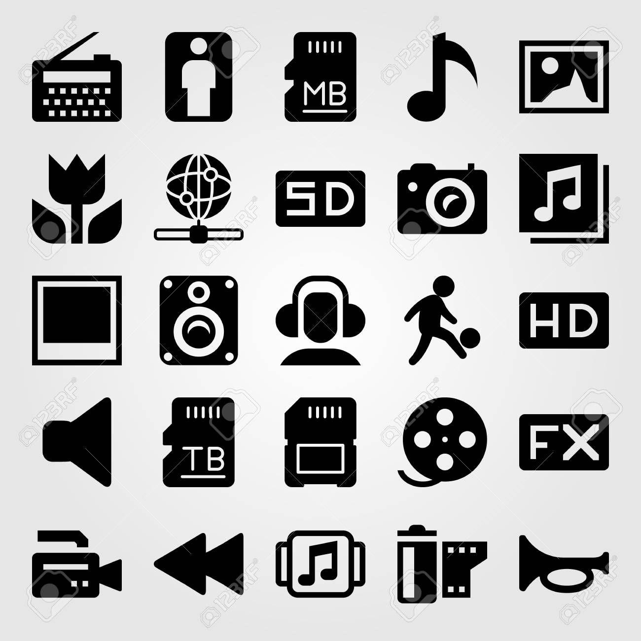 Multimedia Vector Icon Set Speaker Man Headphones And Film Roll