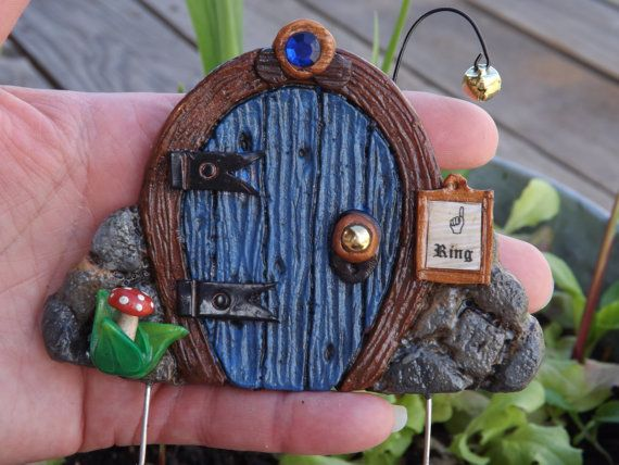 Blue GNOME DOOR   FAIRY door  miniature gnome house by zzzengirl, $14.50