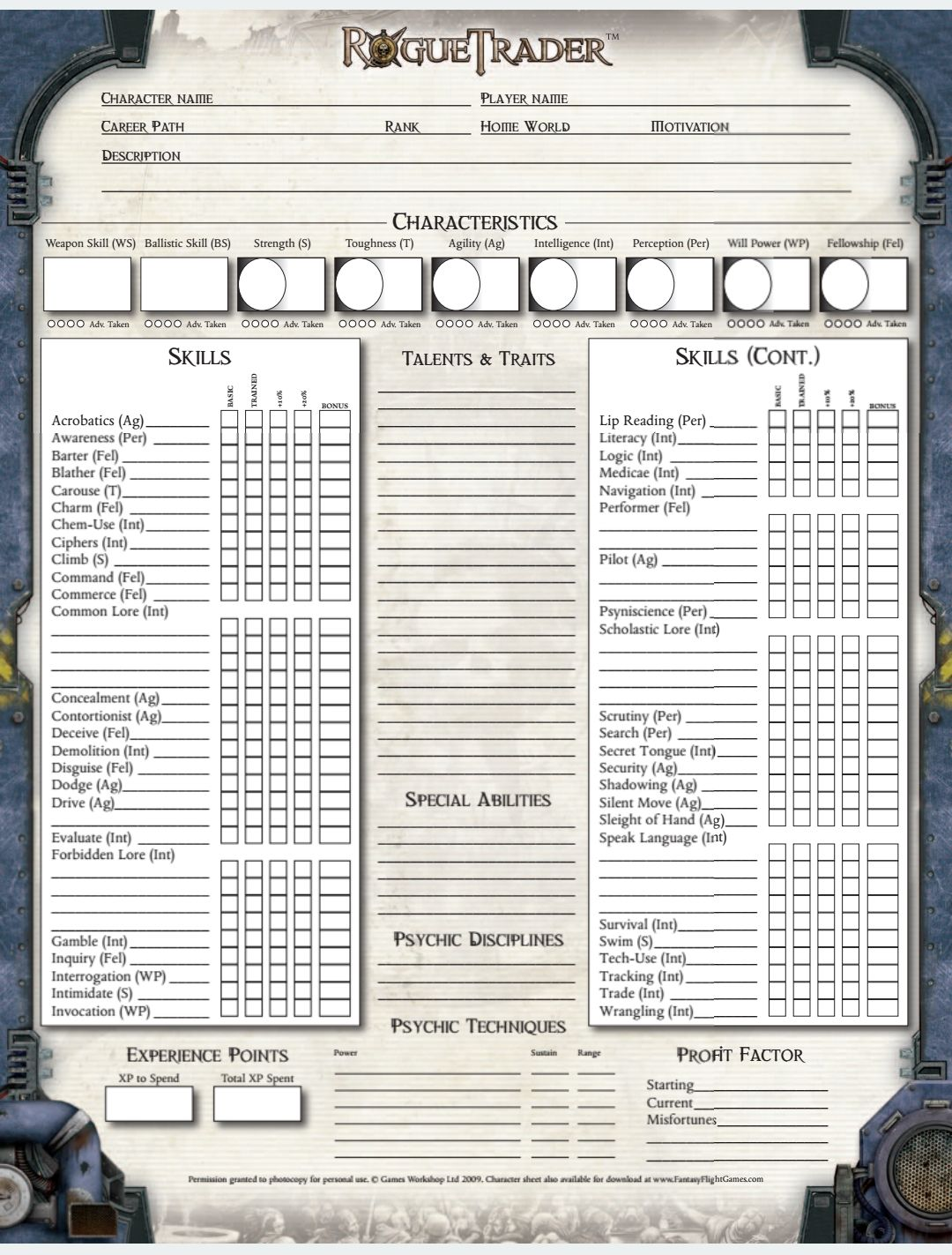 Warhammer 40,000 Roleplay: Rogue Trader 1 | Character Sheets