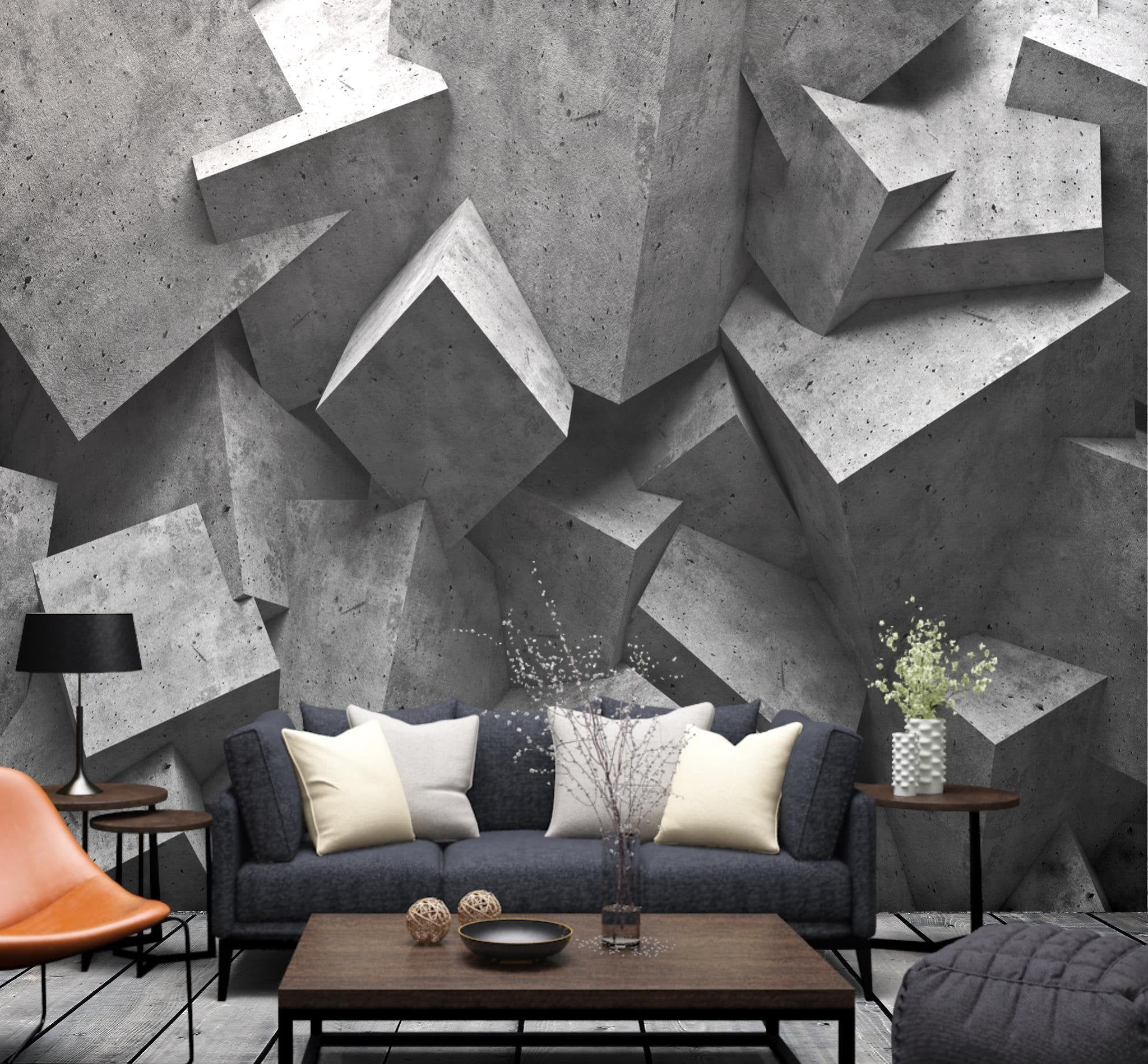 Abstract Wallpaper Self Adhesive Sticker Brick Peel And Stick Etsy In 2021 Wallpaper Living Room Abstract Wallpaper Living Room Wall