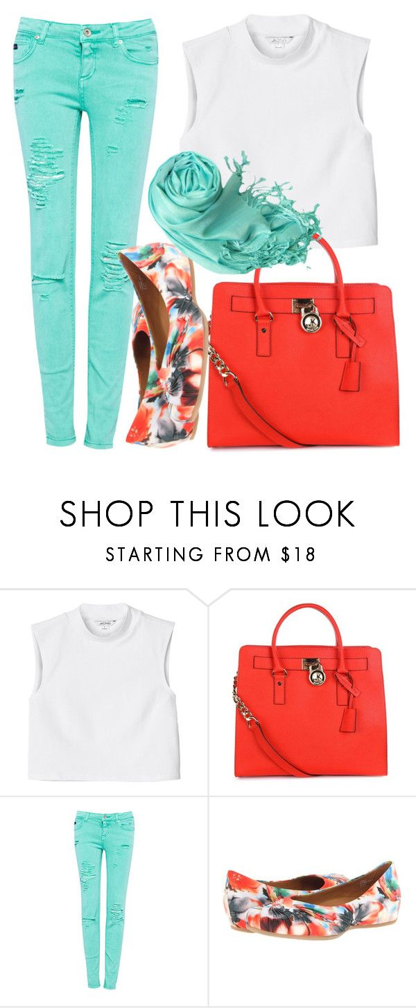 """""""Untitled #889"""" by helenaki65 ❤ liked on Polyvore featuring Monki, MICHAEL Michael Kors, Pull&Bear, Earthies and Peach Couture"""