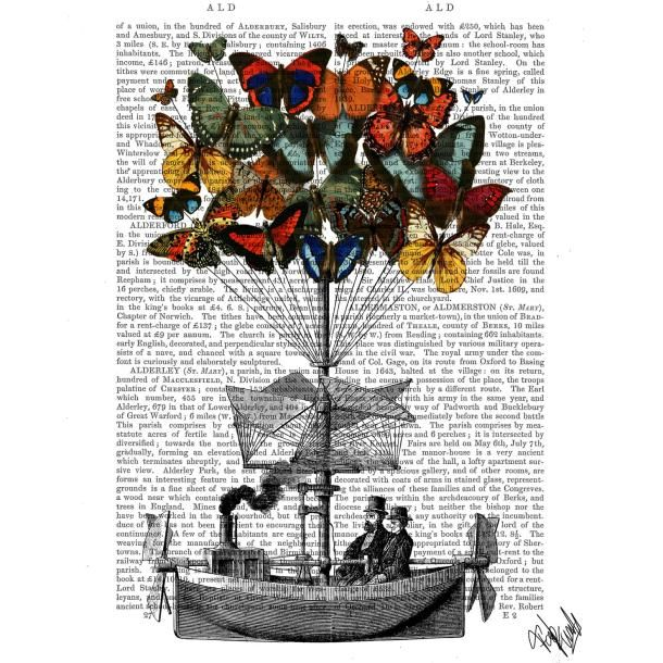 Picture showing FabFunky - Butterfly Airship, Antiquarian Book Print, 20.3 x 25.4cm