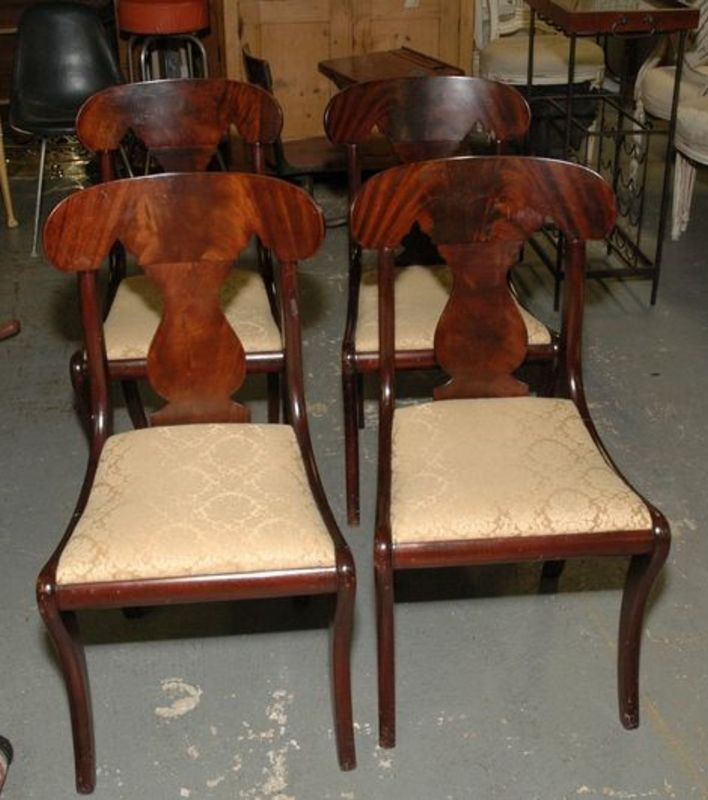 Beautiful Set Of Four Empire Style Mahogany Dining Room Chairs