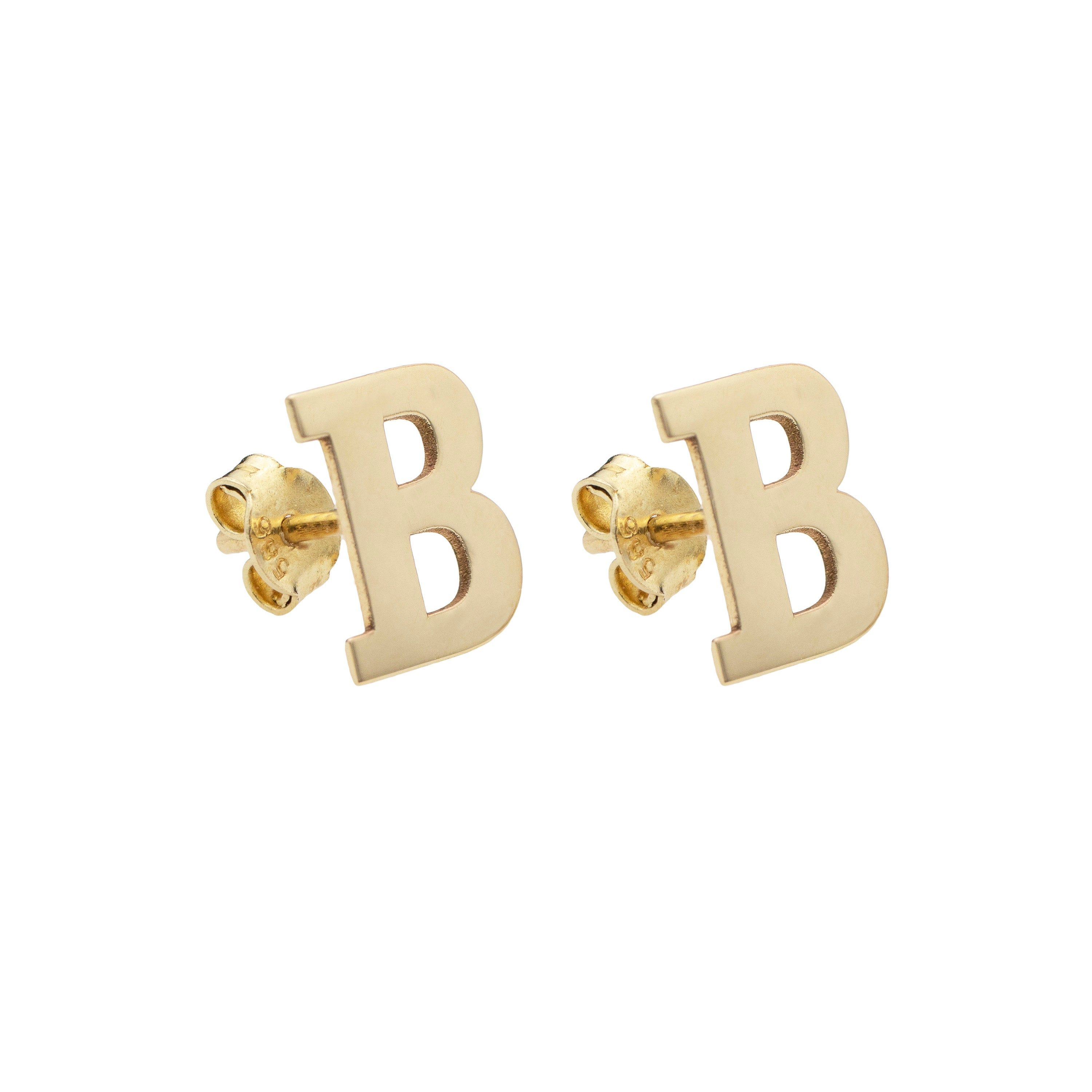 14k Solid Gold Earrings Gold Initial Stud Earrings Alphabet Etsy In 2020 Initial Earrings Studs Gold Initial Solid Gold Earrings