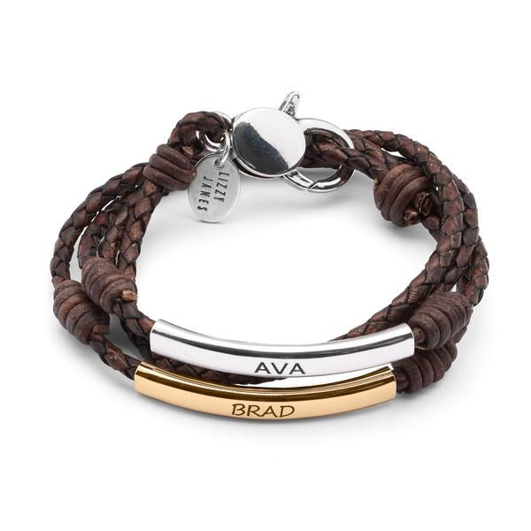 Create Your Own Bracelet And Make It Uniquely Yours This Personalized Features A Single Leather Strand 2 Crescents For Engraving