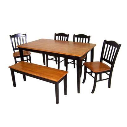 Boraam Industries 6 Piece Shaker Dining Set   Black/Oak. Like The Bench  Seat On One Side.