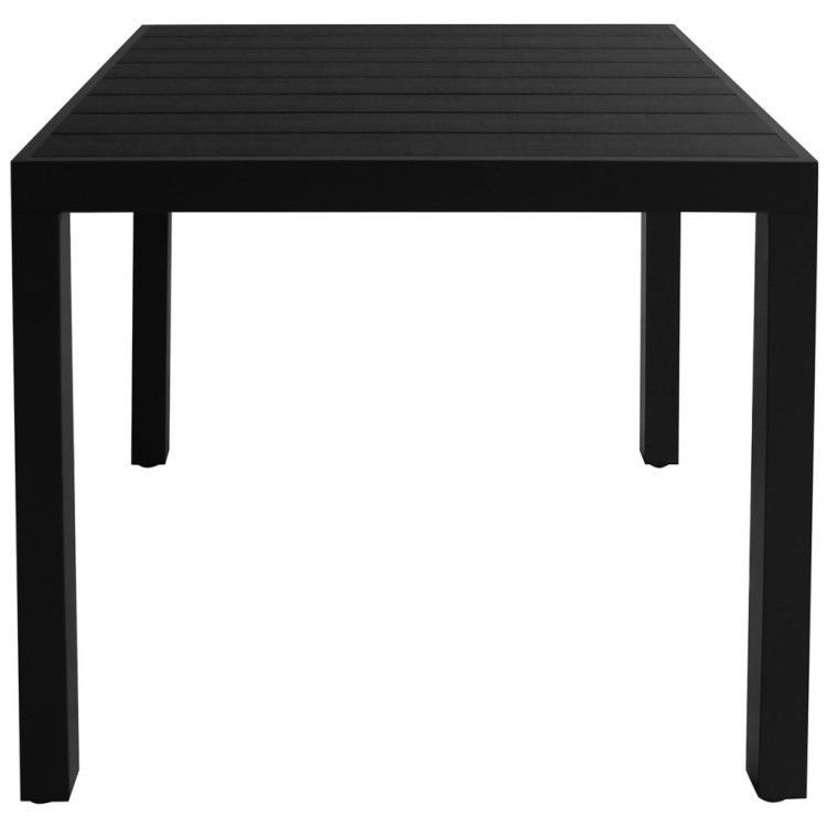 Black Square Patio Dining Table 4-Seater All-Weather Aluminium
