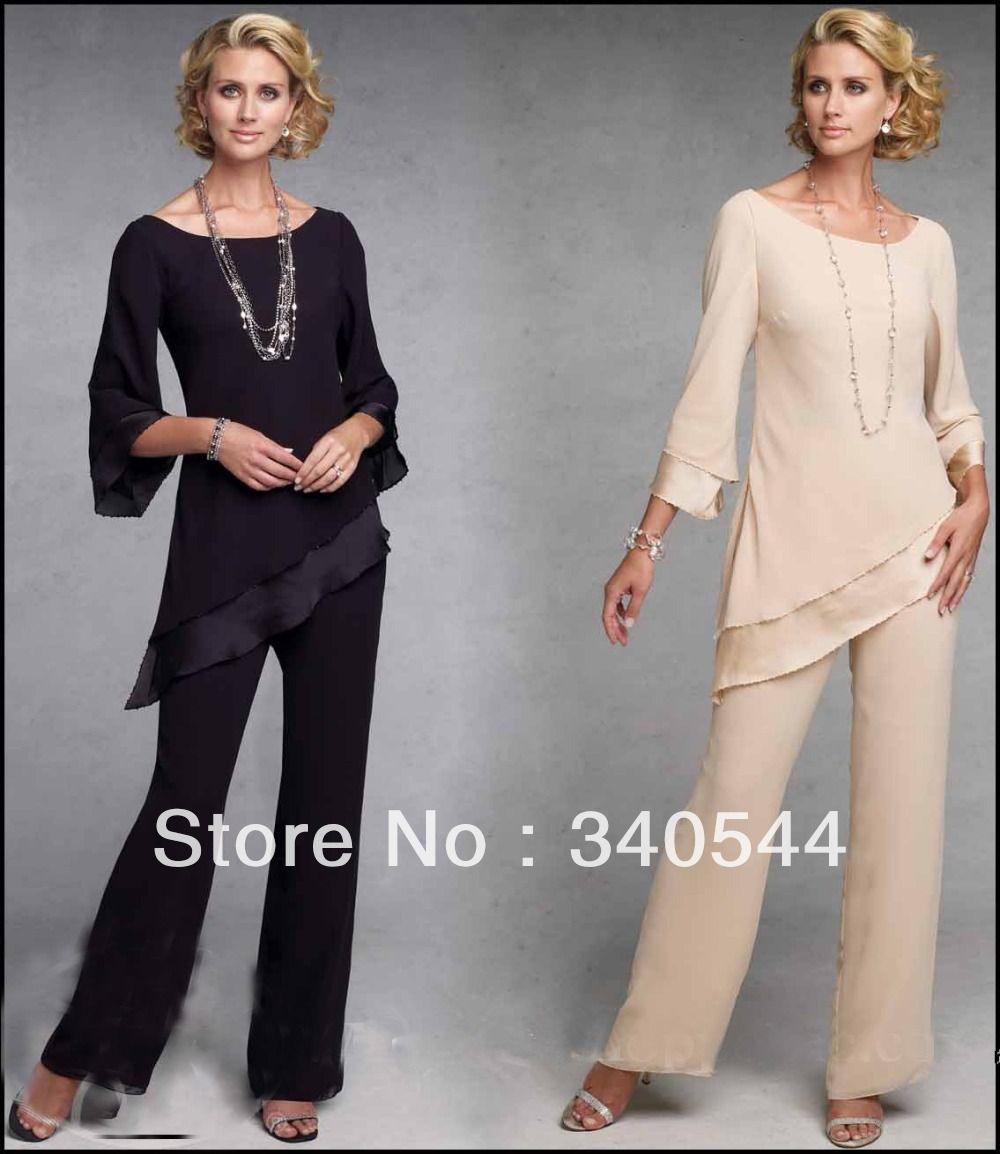 Mother Of The Bride Pant Suits Dresses With Long Sleeves Chiffon ...