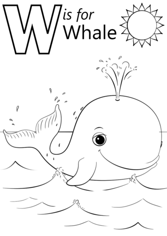 W Is For Whale Coloring Page From Letter W Category Select From 26388 Printable Crafts Of C Mermaid Coloring Pages Whale Coloring Pages Cartoon Coloring Pages