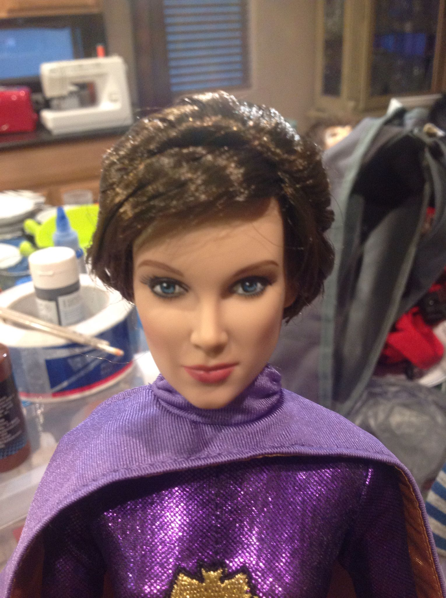 This is how she came from Factory before I enhanced her face and re-fixed her wig.