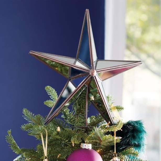 Mirrored Star Tree Topper Christmas Holidays , Decoration DIY