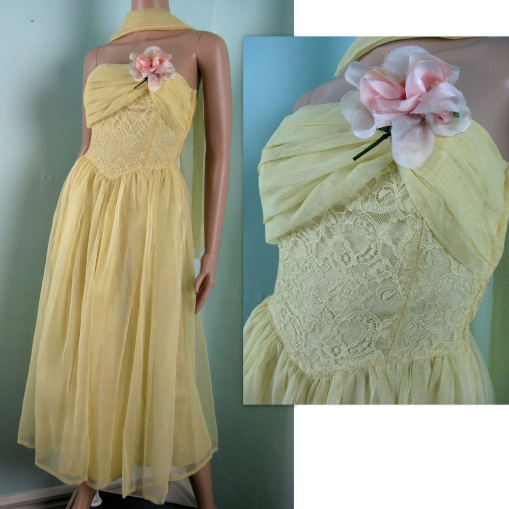 Vintage s yellow tulle prom dress s strapless mesh dress size