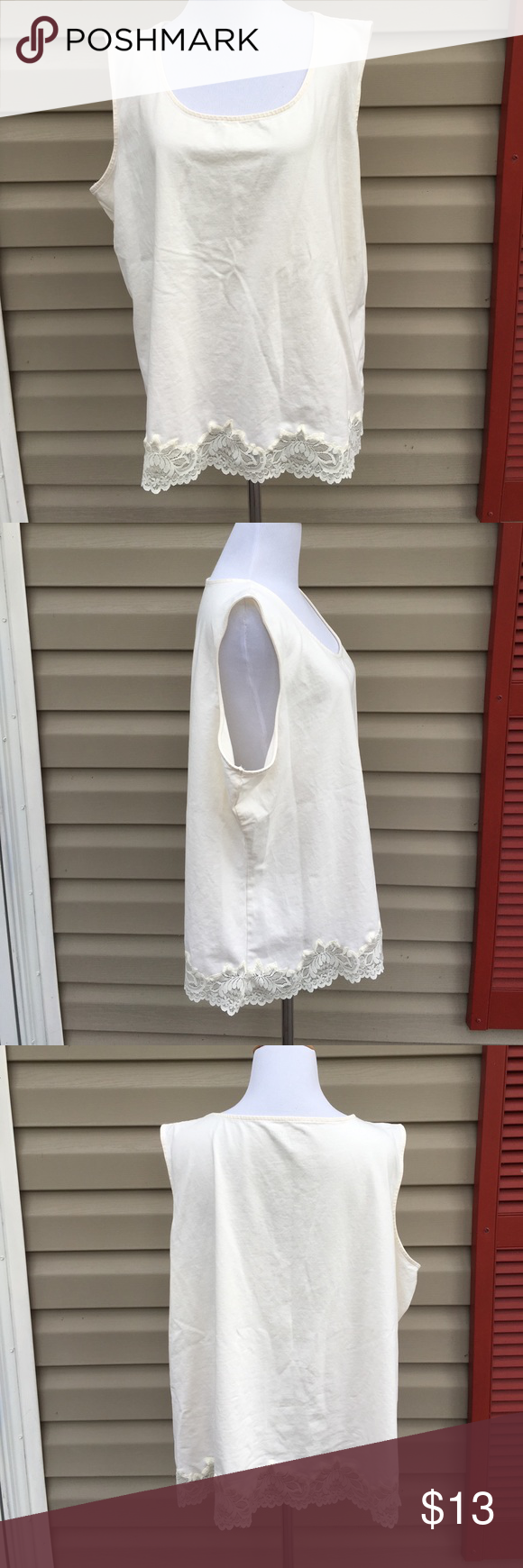 "Coldwater Creek women's sleeveless ivory top Very nice sleeveless top with lace at hem . 95% cotton 5% spandex. No snags, stains, pilling, or holes. EUC. 25""W x 25""L Coldwater Creek Tops"