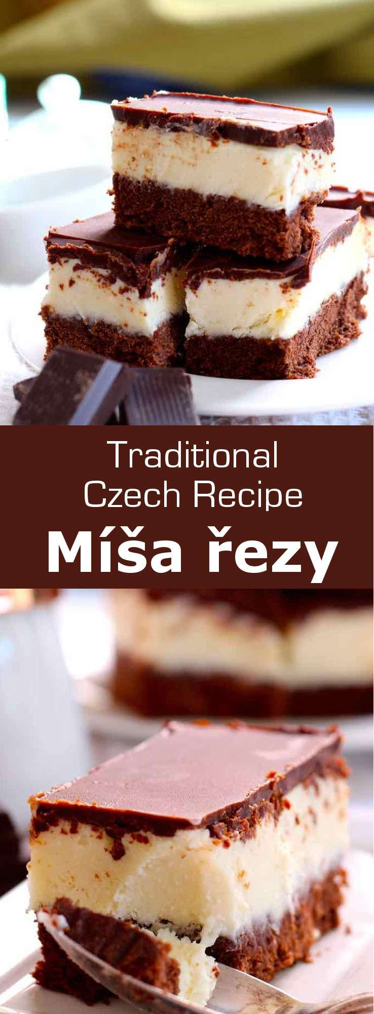 Míša řezy is a delicious traditional Czech cake that consists of three layers: a chocolate sponge cake, a layer of cheesecake and a glossy chocolate icing. #CzechRepublic #CzechCuisine #CzechRecipe #Dessert #CzechDessert #Vegetarian #WorldCuisine #196flavors via @196flavors #czechrecipes