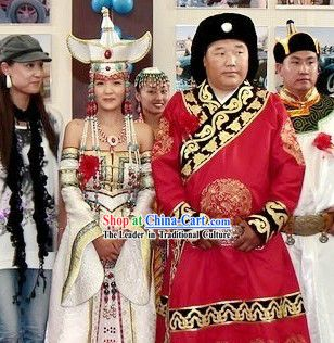 69634f613aee3 Traditional Chinese Mongolian Wedding Dresses and Hats for Bride and  Bridegrooms
