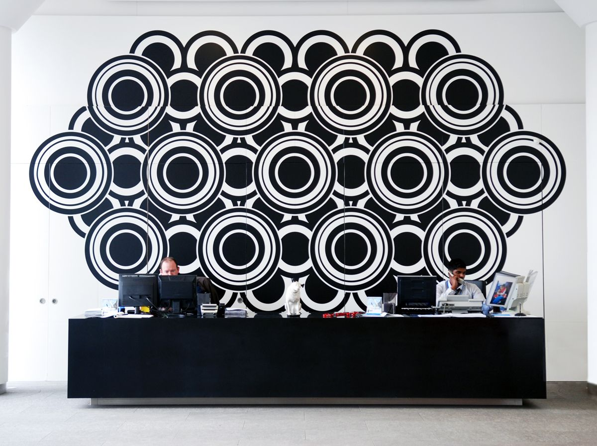 reception design for The Old Vinyl Factory by Morag Myerscough