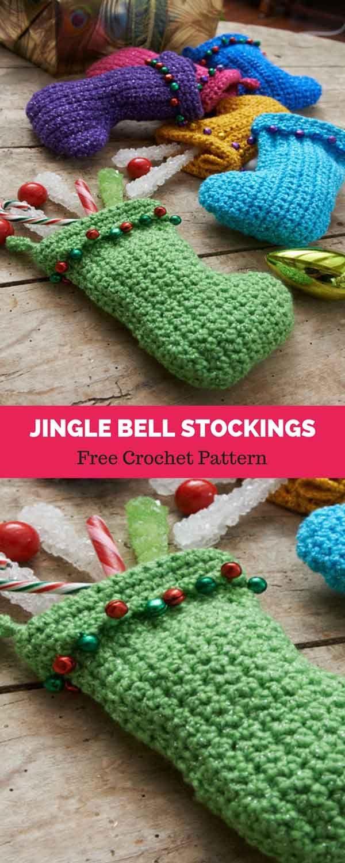Jingle Bell Stockings Free Crochet Pattern Diy Haken Kerst