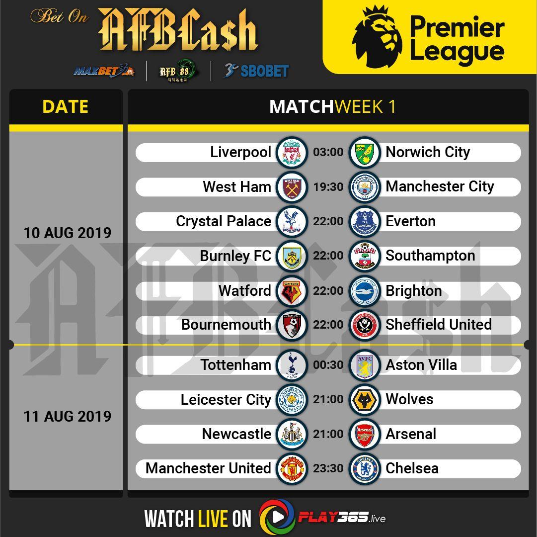 Premier League Matchweek 1 10 August & 11 August 2019