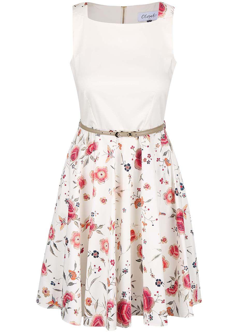 f376bab597db Krémové květované šaty s páskem Closet