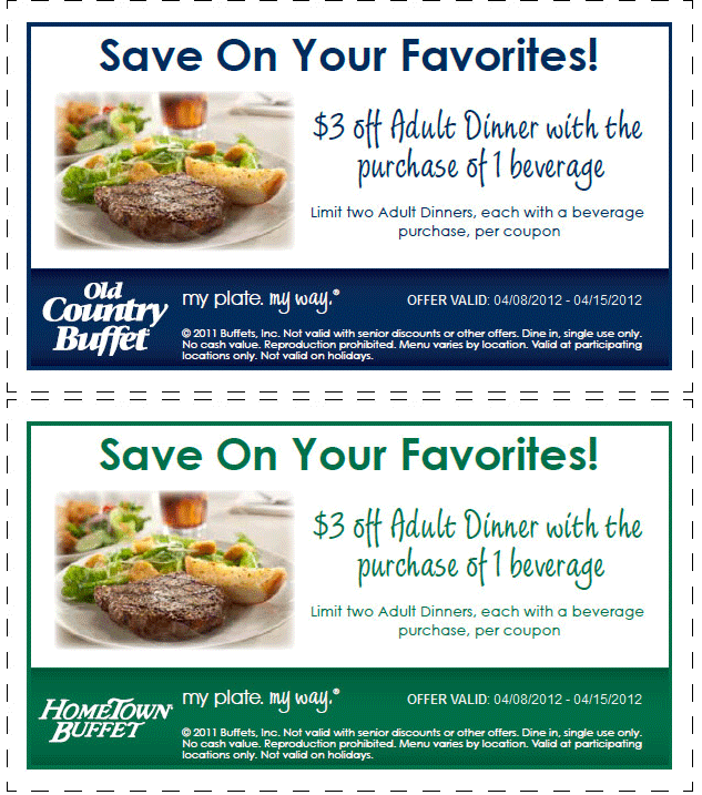 photograph about Hometown Buffet Coupons Printable identified as $3 dollars off evening meal with your beverage at Hometown Buffet