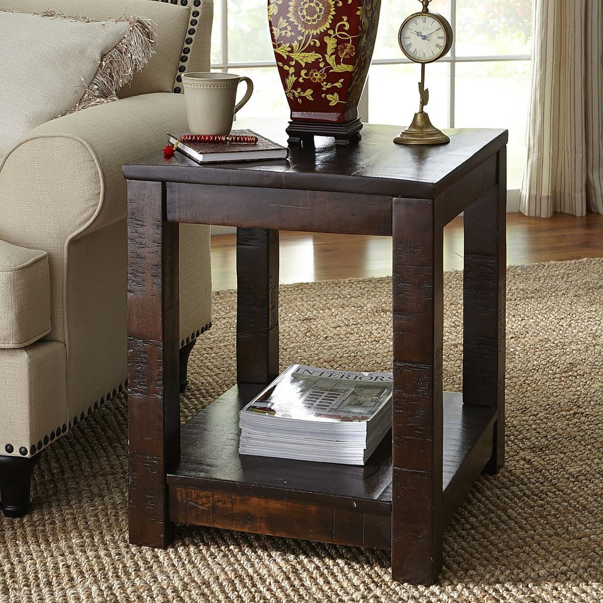 Parsons Tobacco Brown End Table End Tables Coffee Table Glass Top Dining Table