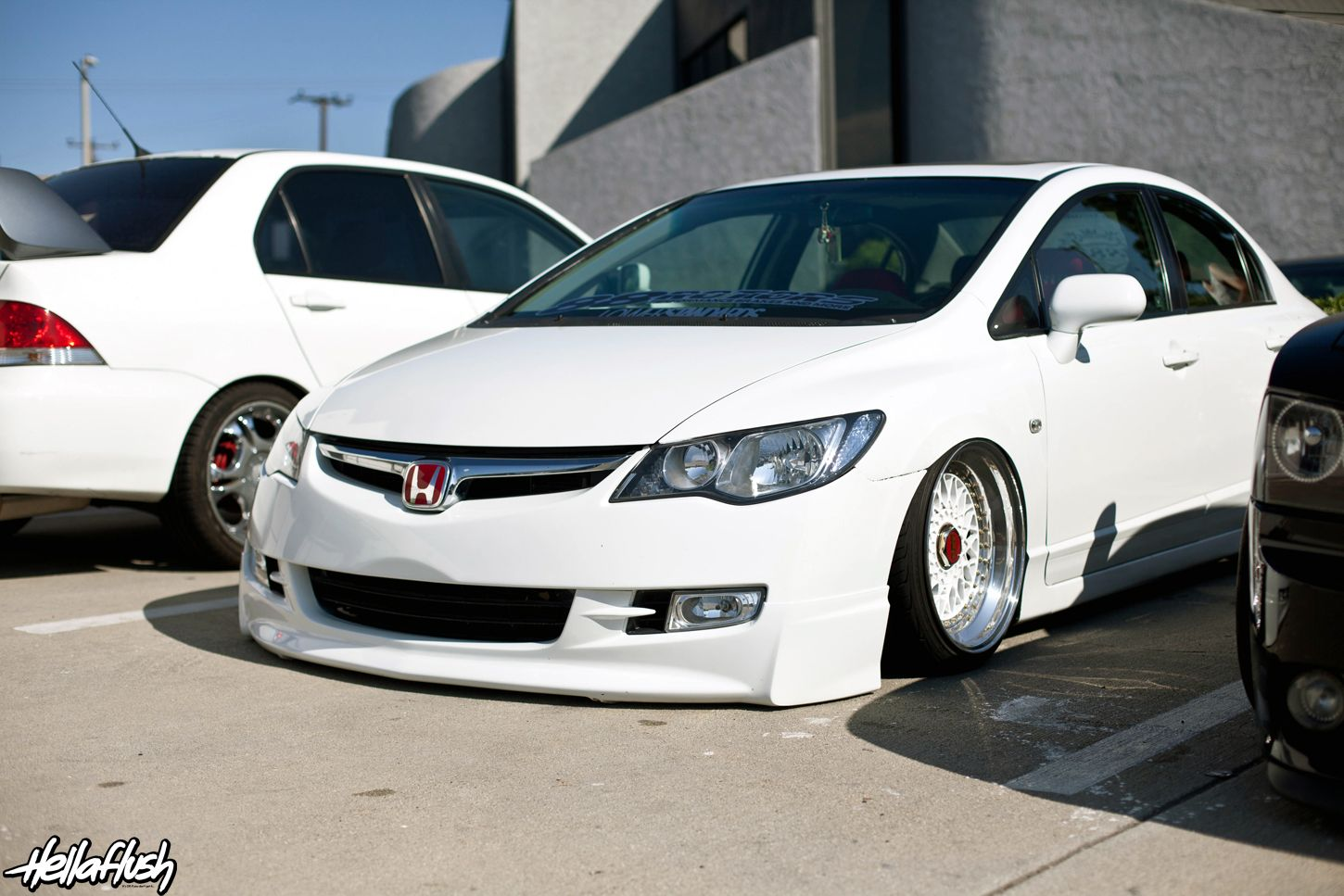 Bagged Civic on BBS RS wheels. | civic 8th gen ideas ...