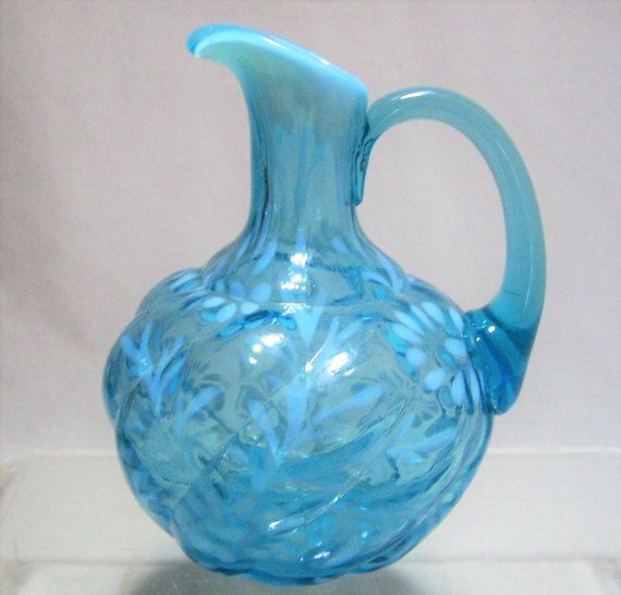 Antique Northwood blue opalescent art glass cruet Daisy and Fern pattern, Parian Swirl mold 5 inches high by 4 1/2 inches wide No chips, cracks or other damage Missing stopper Additional pictures are available Good vintage condition International buyers welcome, overcharges are refunded 011817  Paypal and Credit Cards accepted