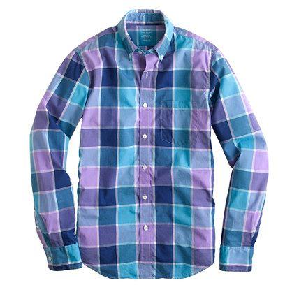 Slim lightweight shirt in faded violet check