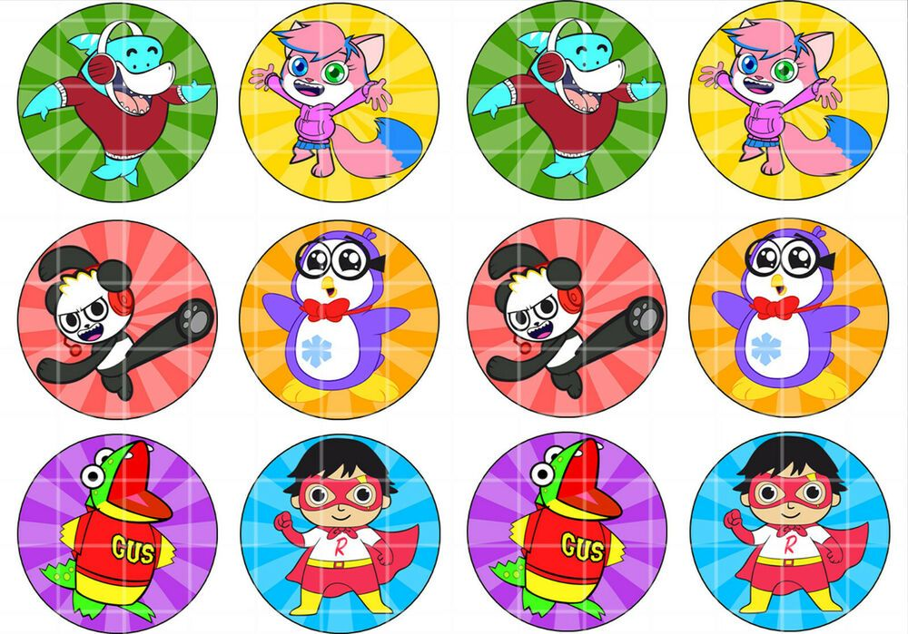 24x Edible Ryan S World Circle Cupcake Cookie Toppers Wafer Paper Sheet Uncut Handmade Birthday Spongebob Birthday Party Ryan Toys Cupcake Toppers Free
