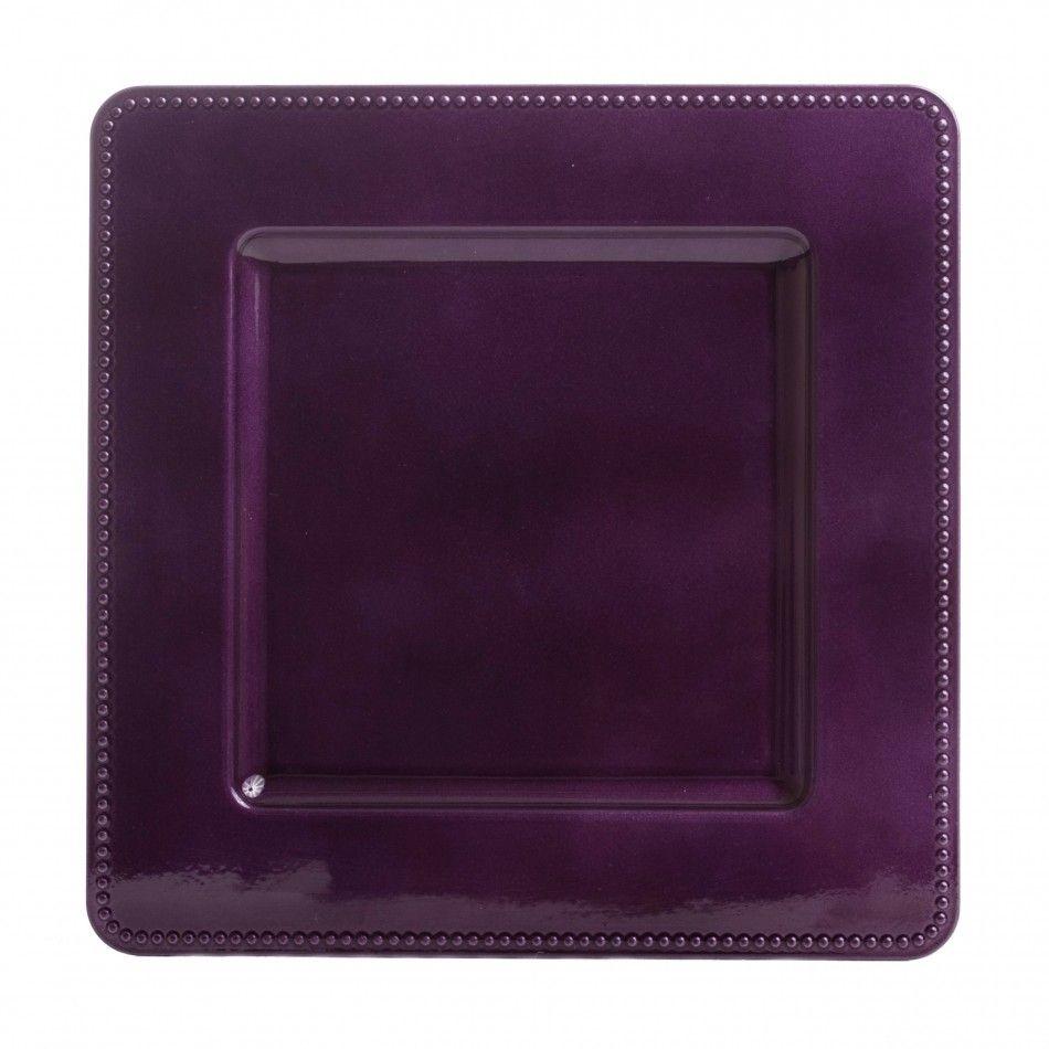 Leia Square Purple Charger Plates (bulk 36 Pieces) = $100 Ea [6138