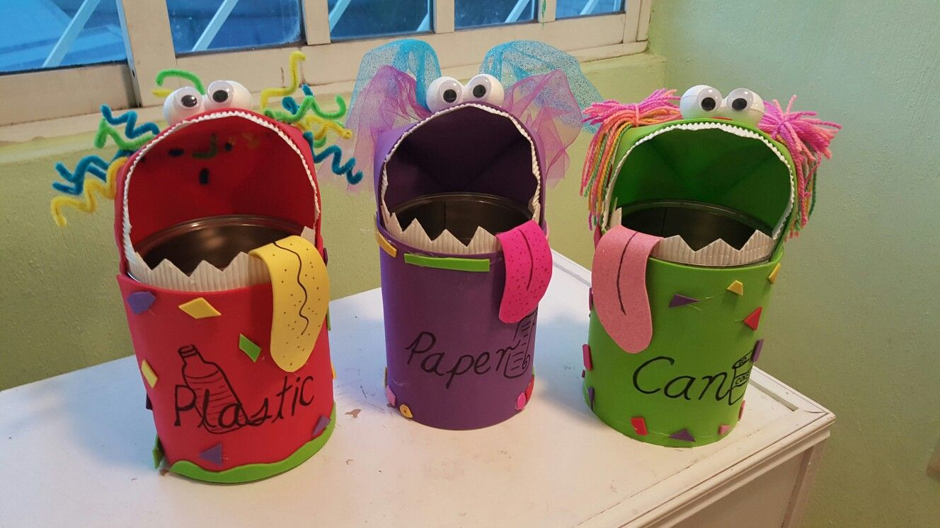 Botes De Basura De Reciclaje Monstruos Come Basura Reciclaje Basura Reciclaje En Casa Manualidades