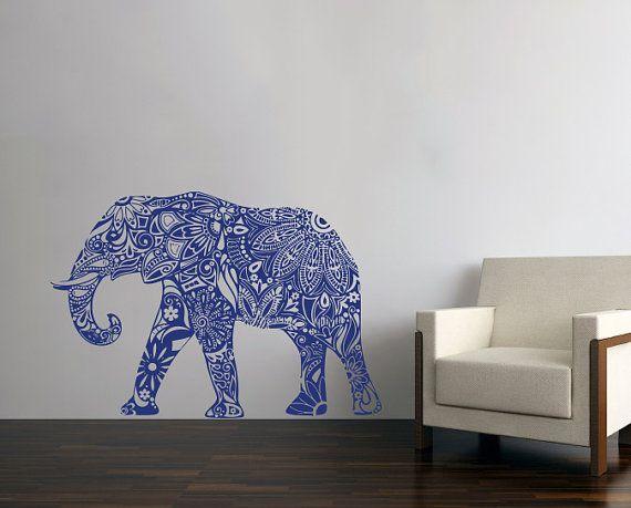 Elefante indiano muro decalcomanie motivo floreale di BestDecals