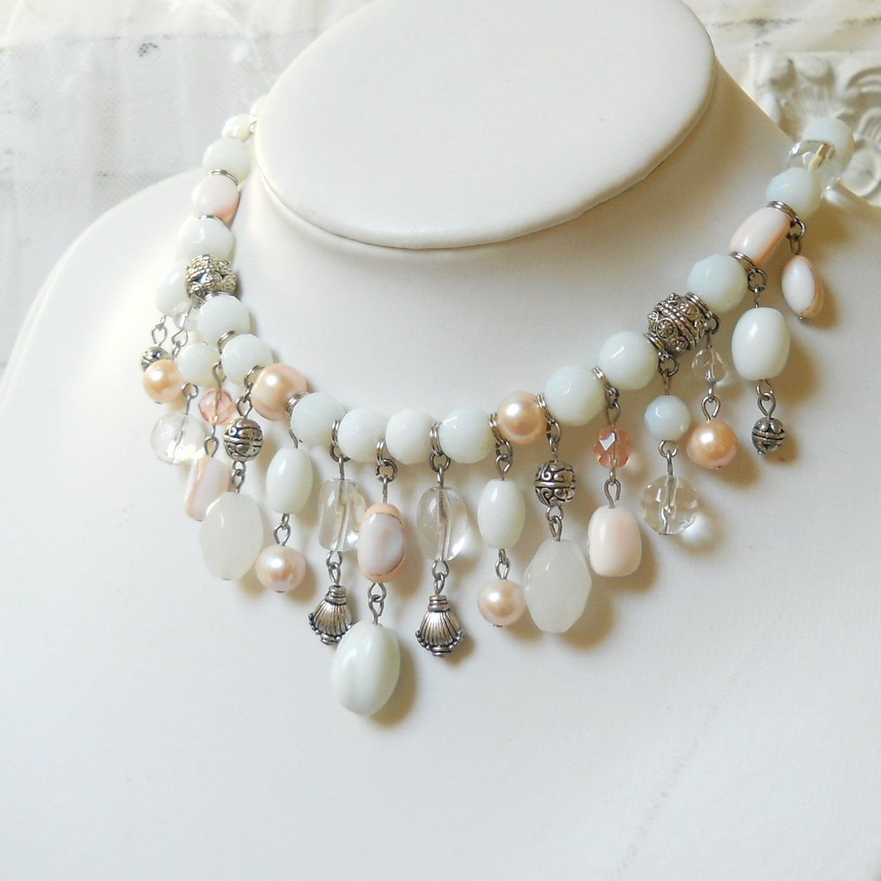 white bib necklace, shell necklace, pearl necklace, shell and pearl necklace…