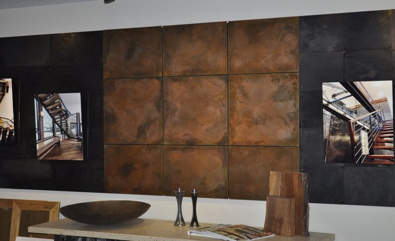 Burnt Copper Z Clipped Floating Steel Wall Panels Brandner Design Metal Wall Panel Steel Wall Copper Wall Decor