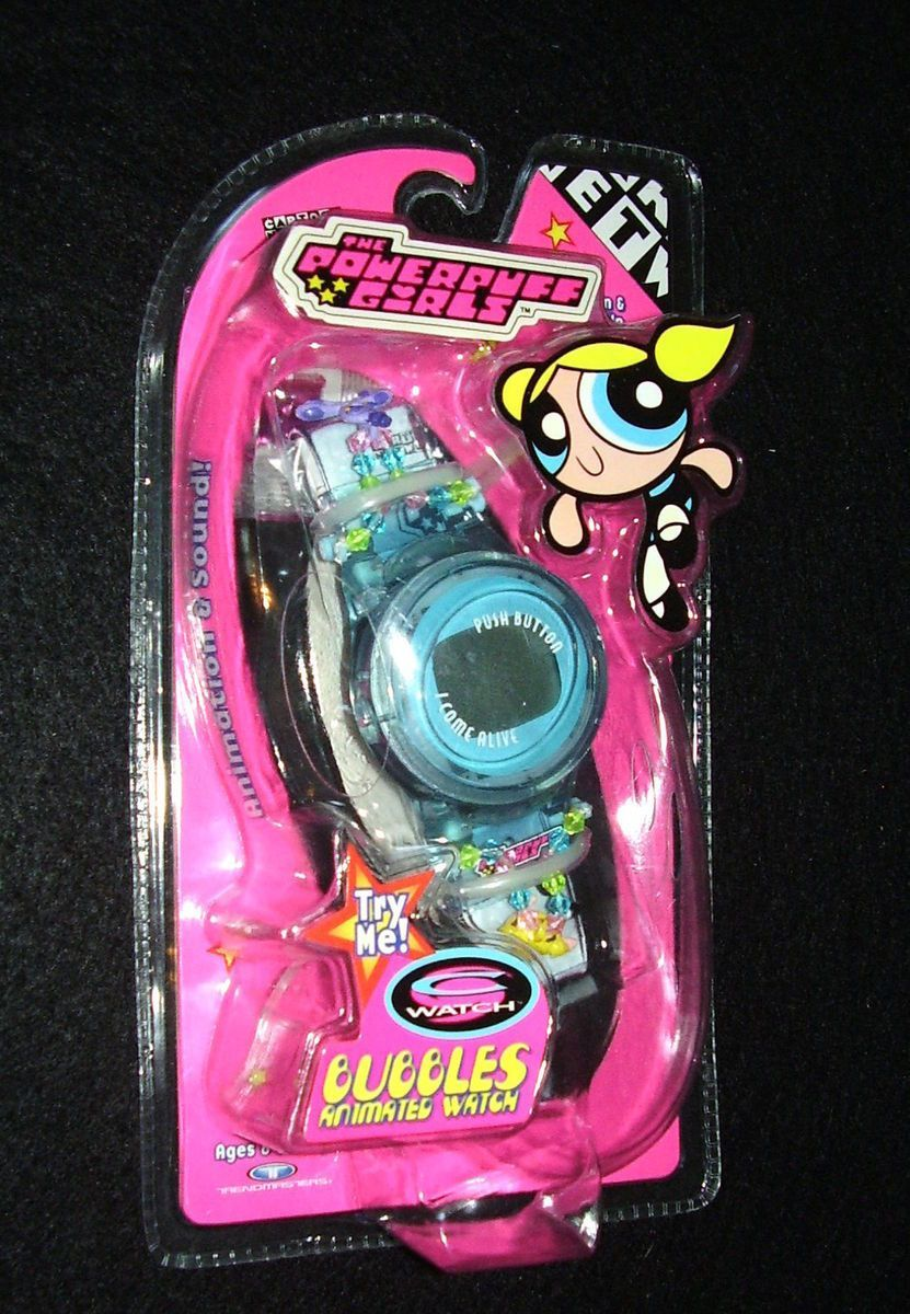 RARE 1999 Powerpuff Girls Electronic Bubbles Animated Talking Watch