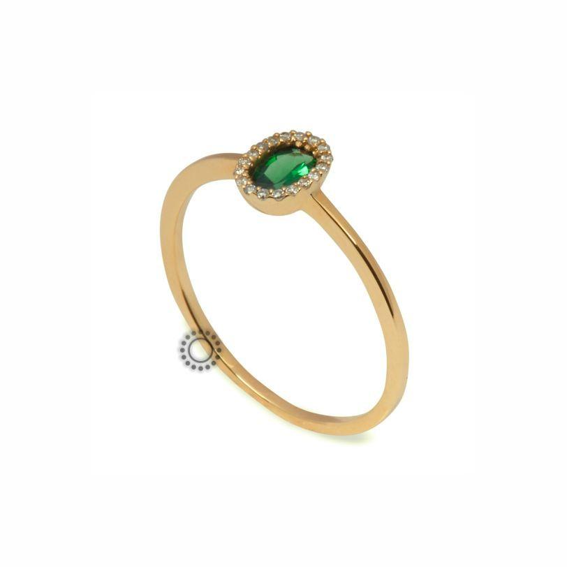 Λεπτό μονόπετρο δαχτυλίδι ροζέτα Κ18 χρυσό με πράσινο τσαβορίτη  amp   διαμαντάκια  b2646f08fbc